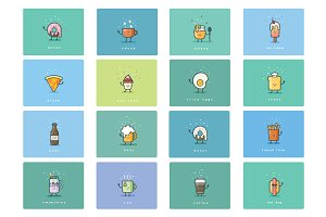 Cartoon food flat icons