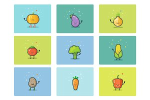 Cartoon flat vegetable icons