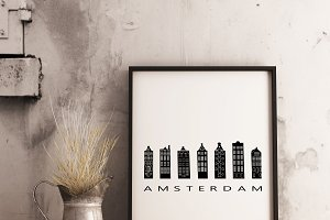 Amsterdam canal houses illustration