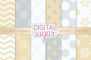 Gold Silver Christmas Digital Paper