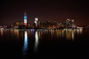 Skyline of night manhattan