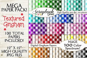 100 Colors Gingham Fabric Papers