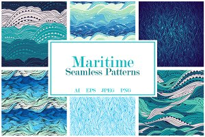 Maritime Seamless Pattern Set