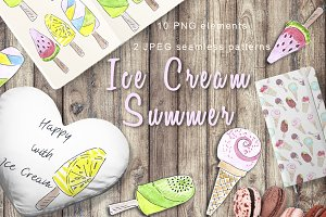 ICE CREAM SUMMER watercolor set