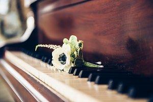 Flower on vintage piano keys