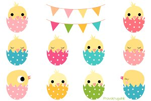 Cute Easter chickens in eggs clipart