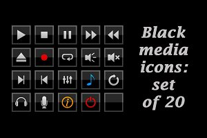 Black square media player icons set