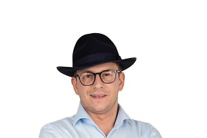 Man in blue fedora hat and glasses