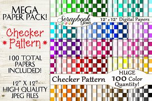 100 Colors Checker Pattern Papers