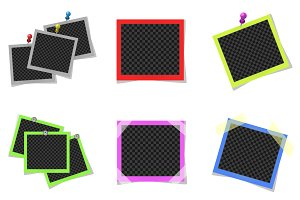 Collage of colored photo frames