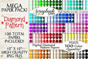 100 Colors Diamond Pattern Papers