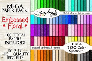 100 Colors Embossed Floral Papers