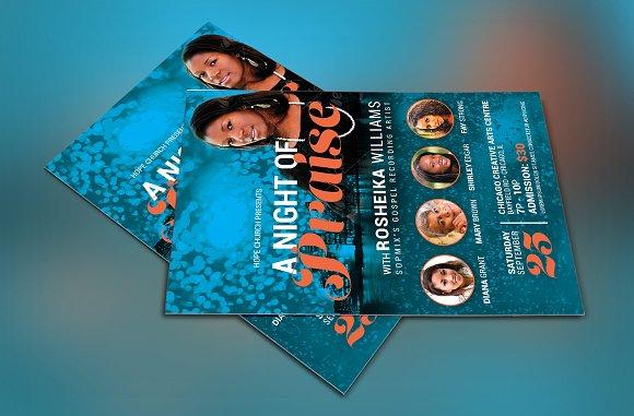 Worship Concert Church Flyer Flyer Templates on Creative Market – Azure Flyer Template