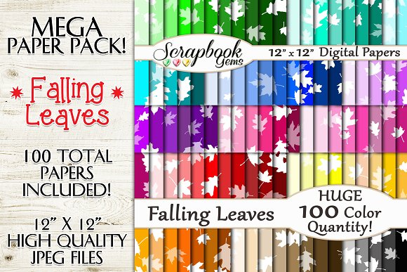 100 Colors Falling Leaves Papers