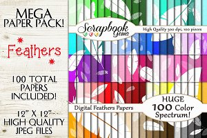 100 Colors Scattered Feather Papers