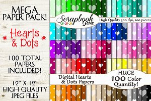 100 Colors Hearts & Polkadots Papers