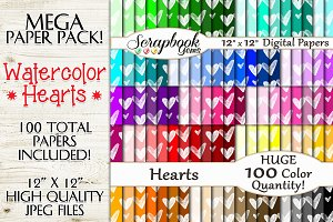 100 Colors Watercolor Hearts Papers