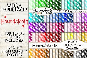 100 Colors Houndstooth Pattern Paper