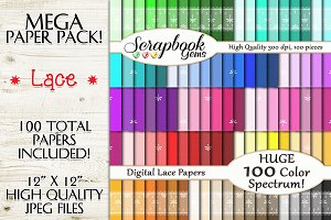 100 Colors Lace Pattern Papers