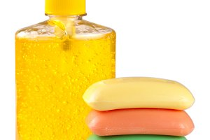 Soap liquid and solid isolated on white background
