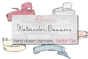 Watercolor Banners (Vector)