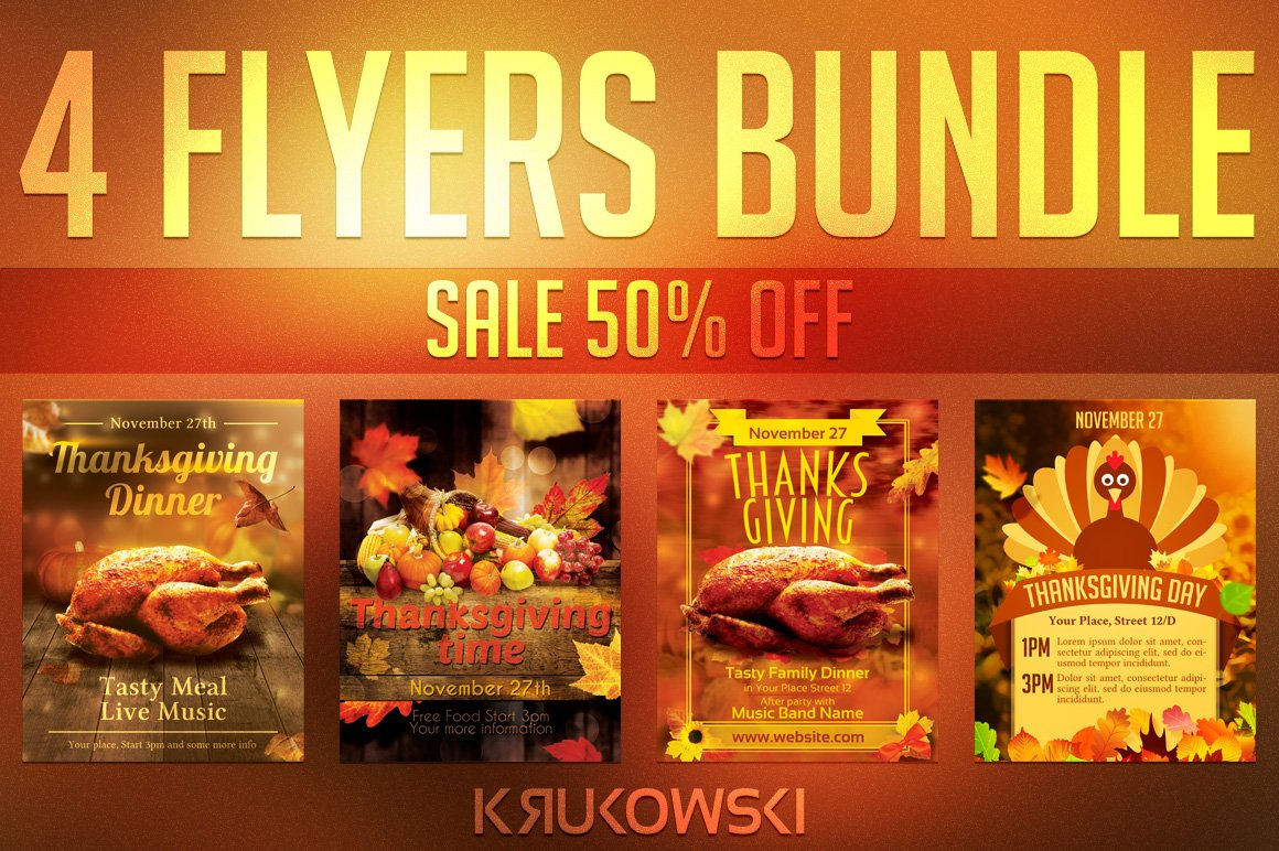 Thanksgiving Flyer Templates Bundle Flyer Templates Creative Market