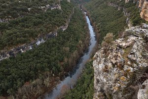 Ebro river canyon on winter season