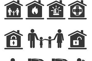 Family Home and Auto Insurance Icons