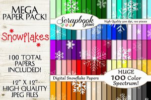 100 Colors Snowflake Papers