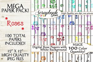 100 Colors Rose Digital Papers