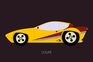 yellow coupe car