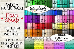 100 Colors Music Sheet Ombre Papers
