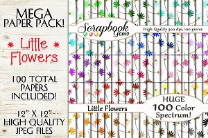 100 Colors Little Flower Papers