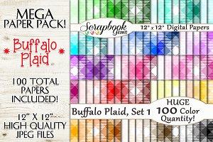 100 Colors Plaid Papers, Set 1