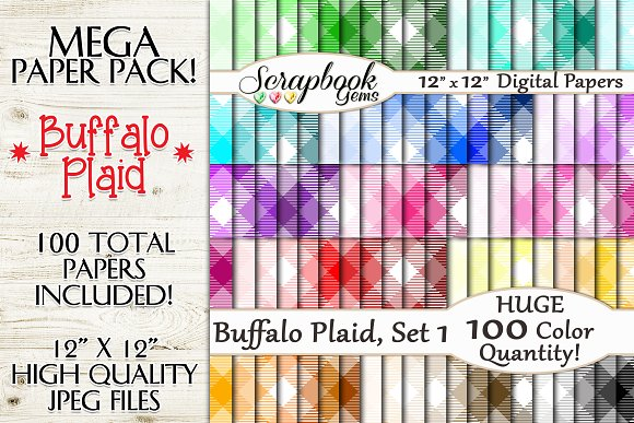 100 Colors Plaid Papers Set 1