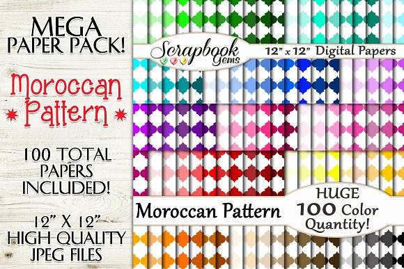 100 Colors Moroccan Pattern Papers
