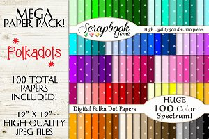 100 Colors Polka Dot Papers