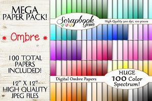 100 Colors Ombre Gradient Papers