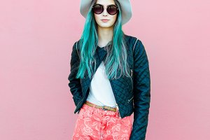 Fashionable young blogger woman