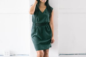 Fashion Forward Woman in Green Dress