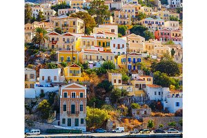 picturesque colorful houses , similar to puppet. Symi island, Greece