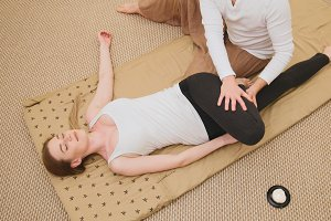 Thai massage -sensual model female - top view