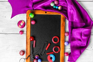 Beads for art on the chalk board