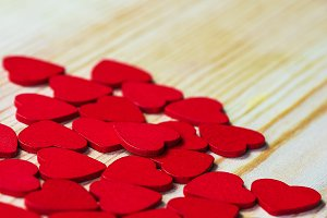 Wooden red hearts
