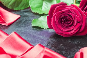 Rose and satin ribbon