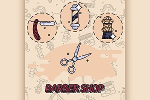 Barber shop flat concept icons