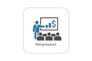 Presentation Icon. Business Concept. Flat Design.