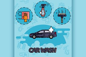 Car wash flat concept icons