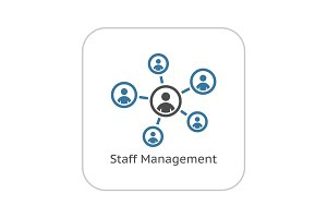 Staff Management Icon. Business Concept. Flat Design.