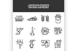 Car wash flat icons set
